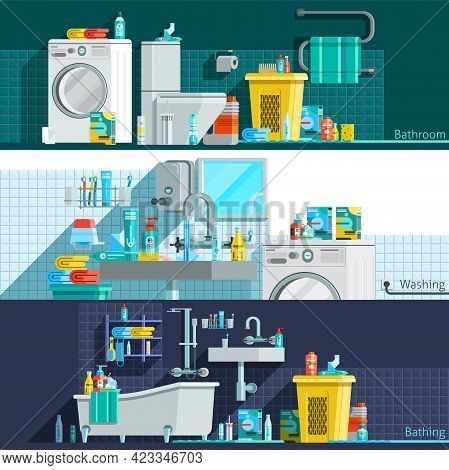 Hygiene Icons Flat Horizontal Banners With Bathroom Interior Toiletries Washing Machine Laundry Bask