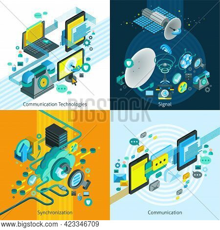 Telecom Network Mobile Isometric 2x2 Design Concept With Elements Of Synchronization And Connection