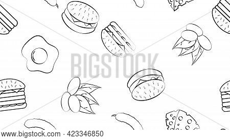 Black And White Endless Seamless Pattern Of A Set Of Food Items And Snacks Icons For A Restaurant Ba