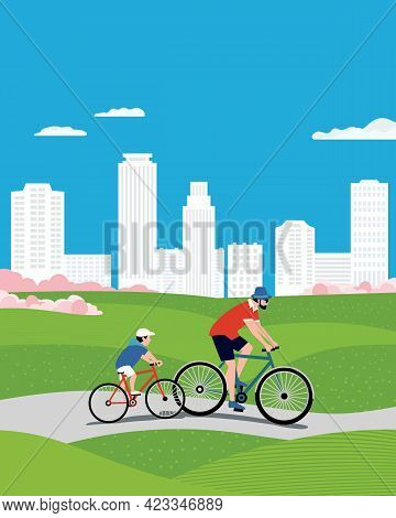 Dad And Son Ride Bicycles In City Park Vector. Father, Baby Kid Cute Cartoon Illustration. Family Ac