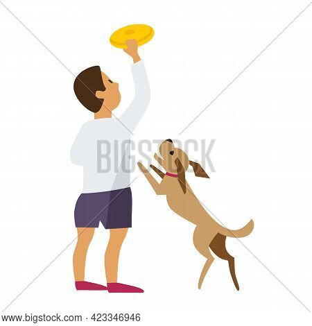 Boy Playing With Pet Dog Flat Color Vector Icon. Cute Little Boy, Puppy Cartoon Design Element. Chil
