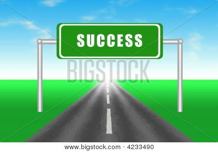 Road to Success Highway Illustration Cartoon Art poster