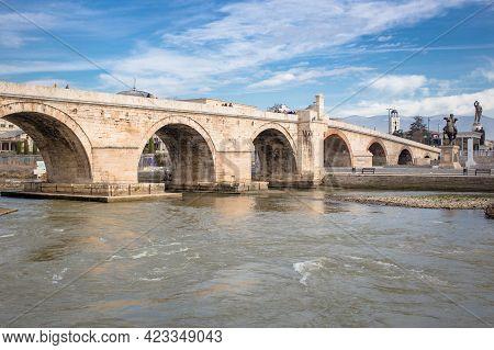 North Macedonia, Skopje, May 2020, Stone Bridge In Macedonian Capital, Skopje