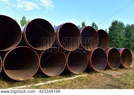 Pipes For Natural Gas Pipeline Project. Oil And Gas Pipelines. Fuel And Energy Concept. Oil Pipeline