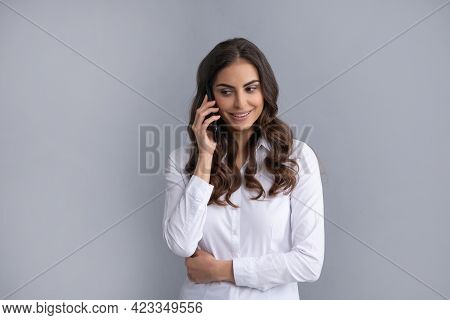 Professional Woman Manager Talk On Mobile Phone Grey Background, Phone Call