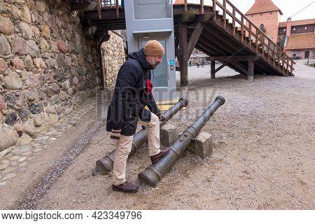 Trakai, Lithuania - February 16, 2020: Tourist Having Fun Inside The Trakai Island Castle. Trakai Ca