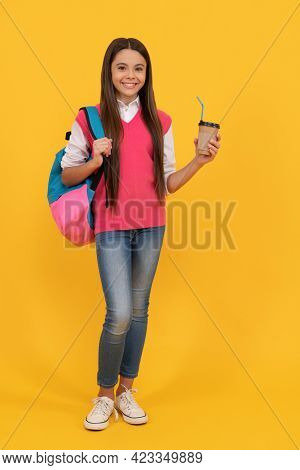 Back To School. Cheerful Kid Drink Cocoa. Smiling Child Drinking Cacao Cup. Education.