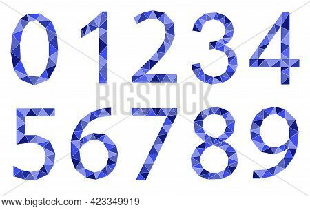 Set Of Numbers Polygon Style Isolated On White Background. Learning Numbers, Serial Number, Price, P