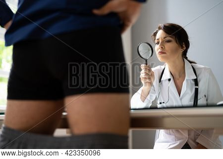 Man Health Examination In Hospital Meme Concept
