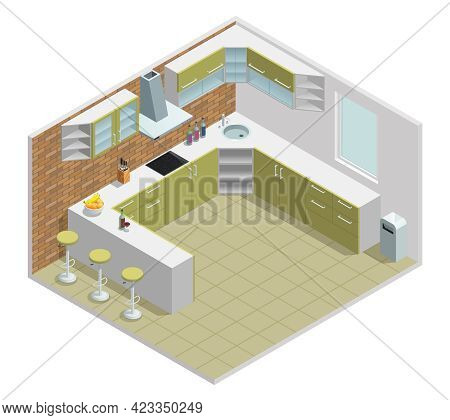 Color Isometric Design Of Kitchen With Table Cupboard Vector Illustration