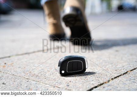Woman Lost Car Key. Walking On Street