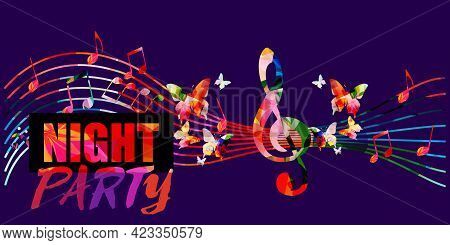 Colorful Musical Night Party Promotional Poster With Musical Notes Vector Illustration. Artistic Bac