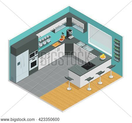 Color Isometric Design Of Kitchen Interior With Chair Cupboard And Table Vector Illustration