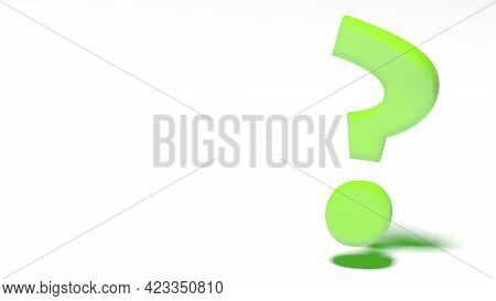 Green Question Mark On White Background - 3d Rendering Illustration