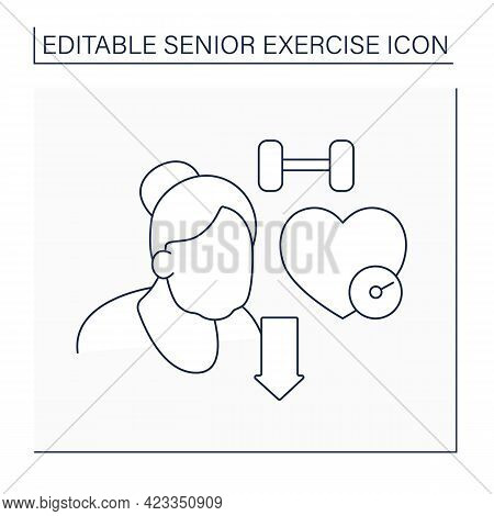 Disease Prevention Line Icon. Exercise Reduces The Impact Of Chronic Diseases. Health Protection. He