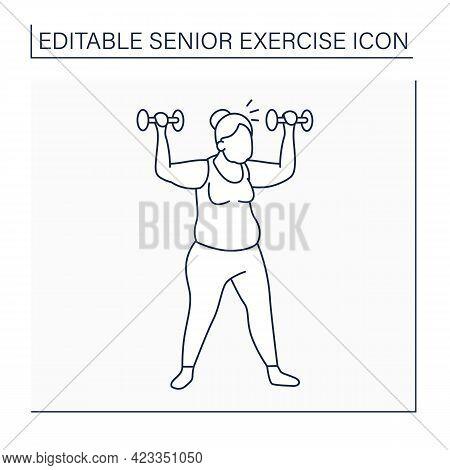 Workout Line Icon. Exercises With Dumbbells. Low Impact Training. Cardio. Prevention Diseases. Senio