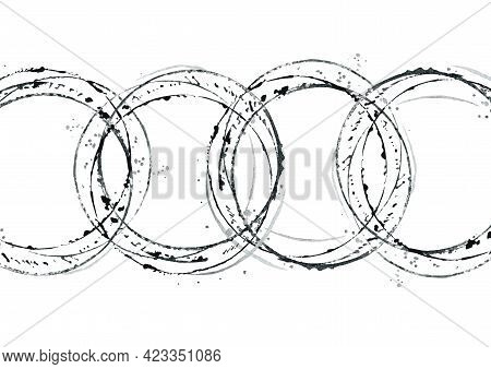 Set Of Abstract Circles. Black And White Painted Circles And Splatters. Watercolour Abstract Illustr