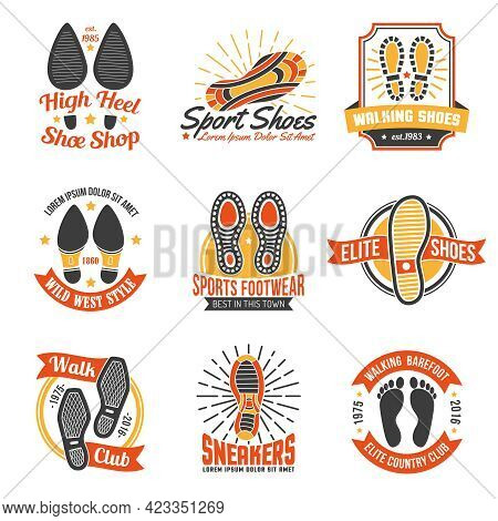 Footwear Stores And Suppliers Labels And Emblems With Soles Insoles And Shoes Footprints Icons Set I