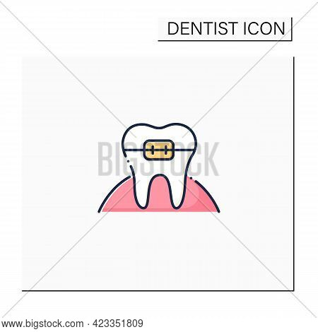 Orthodontics Color Icon. Orthodontists Fixed And Corrected Bite And Realigned Teeth Over Time. Tooth