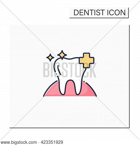Oral Health Color Icon. Healthy Tooth With Perfect Smile. Good Care Concept. Aesthetic Overall Healt