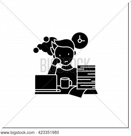 Work Procrastinating Glyph Icon.unnecessarily Postpone Dealing Work-related Tasks. Tired Person.over