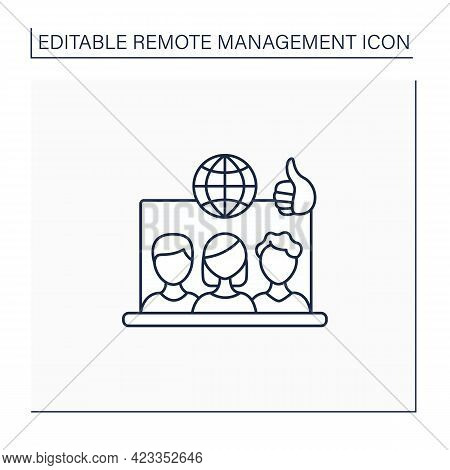 Remote Working Culture Line Icon. Connection Co-workers Experience. Similar Priorities, Interests. N