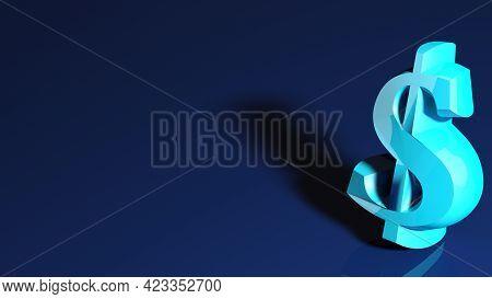 Blue Dollar Sign Over Blue Background - 3d Rendering Illustration