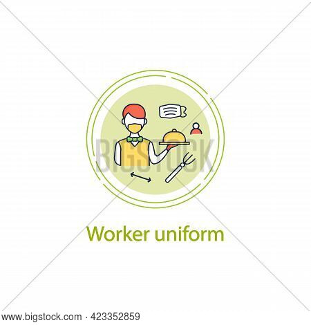 Worker Uniform Concept Line Icon.restaurant Worker In Face Mask And Gloves.additional Protection. Ne