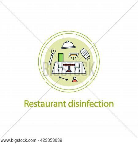 Restaurant Disinfection Concept Line Icon.ultraviolet Light Disinfection.furniture Disinfect.regulat