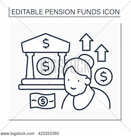 Pension Funds Investment Line Icon.keeping All Money In Bank Cell. Saving Money. Economy Concept. Is