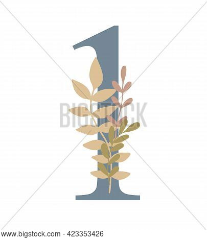 Number Decorated With Flowers, Floral Monogram Vector Illustration In Simple Boho Style, Flat Pastel