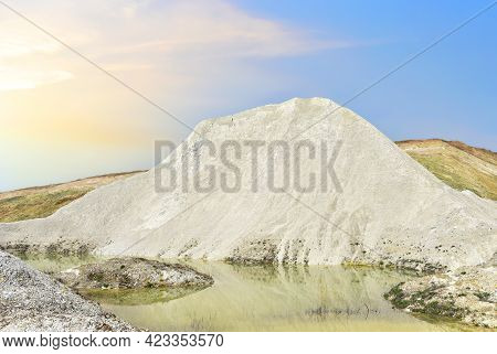 Chalk Structure On Artificial Mountain After Quarry Mining. Technogenic Rock Formed During Mine. Mou