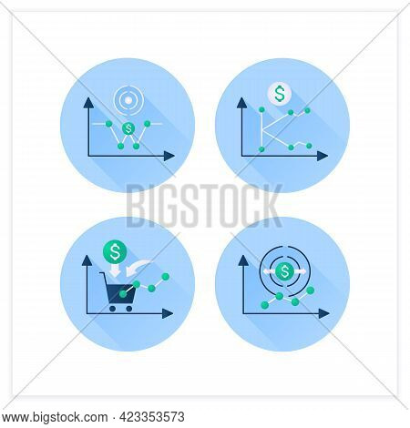 Economic Recovery Flat Icons Set. Economy Expansion, Growth Consumer Demand, K, W Shaped Recovery. G