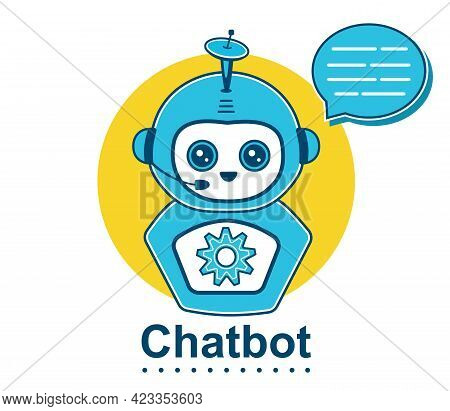 Virtual Chat Bot Robot Head Icon. Smiling Chatbot Operator Face Character For Web Help Or Customer S