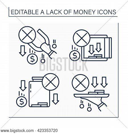 Money Lack Line Icons Set. Loses Saving Money. Unprofitable Investment. Poverty. Poorness Concept. I