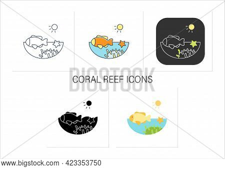 Coral Reef Icons Set. Underwater Ecosystem Characterized By Reef-building Corals. Living Place For S