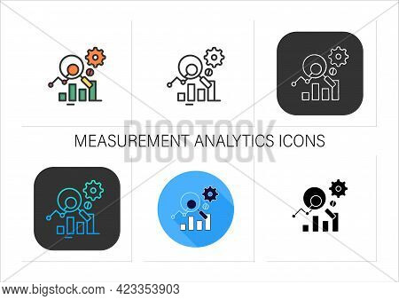 Measurement Analytics Icons Set.combines Measurement Science And Validity Theory, Using Big Data, An