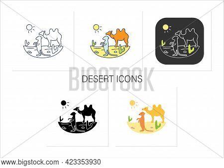Desert Icons Set. Camel And Suricat On Desert Landscape. Cactus, Sun, Summer. Wild Nature, Animals.