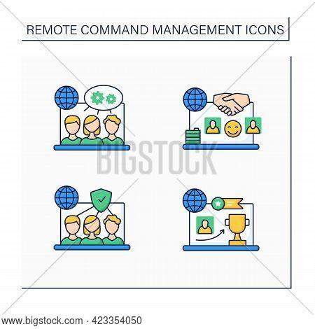 Remote Command Management Color Icons Set. Trust Team, Reward Achievement, Projects Collaborating, P