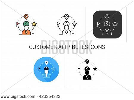 Customer Attributes Icons Set.non-personal Labels Group Behavioral Data Into Personal Groups.collect