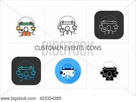 Customer Events Icons Set.emphasize Biggest Achievements, Present Products, Keep Good Contact With C