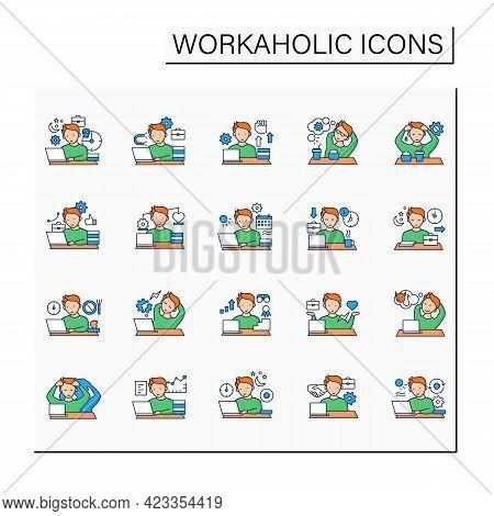 Workaholic Color Icons Set. Workaholism Prevention, Consequences. Workaholism Treatment, Ethic, Dile