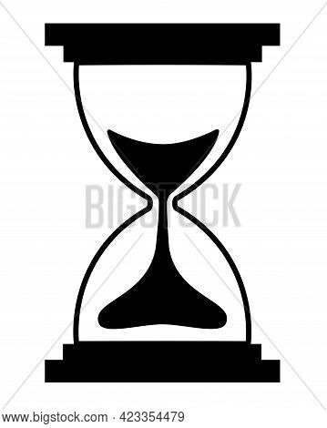 Hourglass - Black White Vector Silhouette For Logo Or Pictogram. Hourglass - Icon Or Sign For Identi