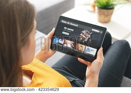 Video On Demand, Movie Streaming, Woman With Tablet Using Video Service