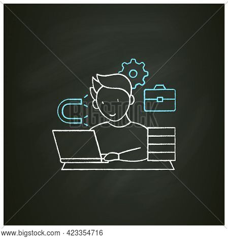 Workaholic Chalk Icon. Inability Detach From Work. Hard Working. Work Love Concept.isolated Vector I