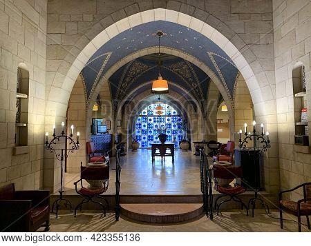 Jerusalem, Israel - March 08, 2021: Interior Of The Building Of Jerusalem International Ymca - Young