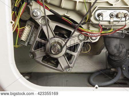 Washing Machine Device, Electric Motor, Washing Machine Motor With Belt Roller, Washing Machine Drum