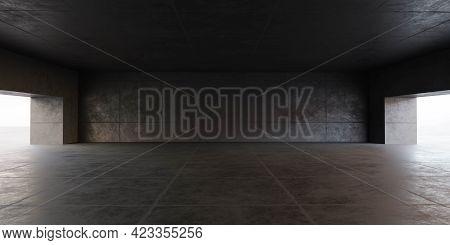 Dark Concrete Building Interior Hall Studio Background, Concrete Room 3d Illustration Render