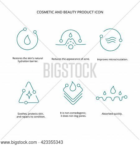 Beauty Treatment, Cream, Mask Cosmetic And Beauty Product Icon Set For Web, Packaging Design. Vector