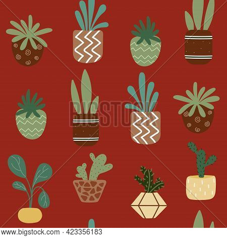 Home Potted Plants Seamless Pattern. Pattern In Earthy And Natural Colors In Boho Style